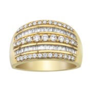 1 CT. T.W. Baguette & Round Diamond 10K Yellow Gold Ring