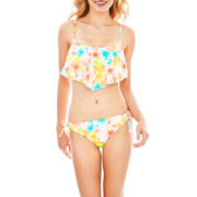 Arizona Floral Print Flounce Swim Top or Hipster Bottoms - Juniors