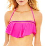 Arizona Embroidered Hanky Bandeau Swim Top - Juniors