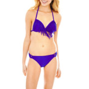 Arizona Fringe Halter Bra Swim Top or Side-Loop Bottoms - Juniors