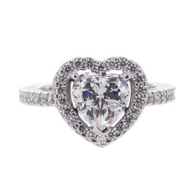 jcpenney.com | DiamonArt® Cubic Zirconia Sterling Silver Heart Halo Ring