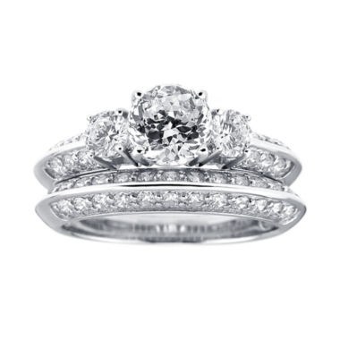 jcpenney.com | DiamonArt® Cubic Zirconia Sterling Silver 3-Stone Bridal Ring Set