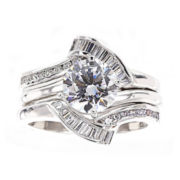 DiamonArt® Cubic Zirconia Sterling Silver Solitaire Bridal Ring & Guard