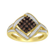 1/3 CT. T.W. White & Color-Enhanced Champagne Diamond Frame Ring