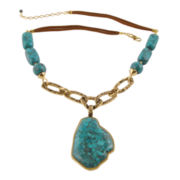 Art Smith by BARSE Genuine Turquoise & Leather Abstract Brass Pendant Necklace