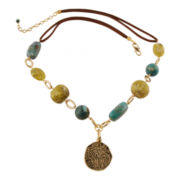 Art Smith by BARSE Multi-Stone & Leather Brass Necklace