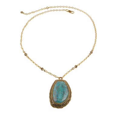jcpenney.com | Art Smith by BARSE Genuine Turquoise & Crystal Brass Pendant Necklace