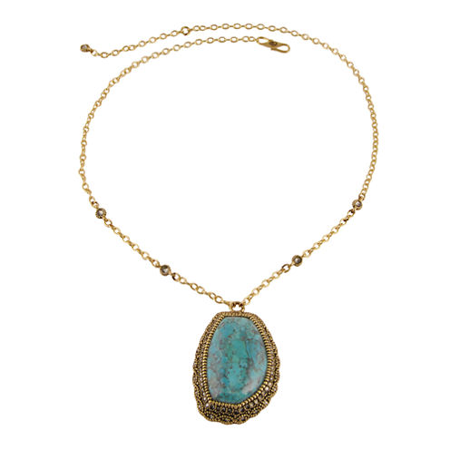 Art Smith by BARSE Genuine Turquoise & Crystal Brass Pendant Necklace