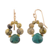 Art Smith by BARSE Multi-Stone Drop Brass Earrings