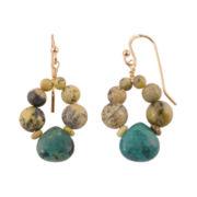 Art Smith by BARSE Multi-Stone Drop Brass Earrings