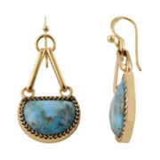 Art Smith by BARSE Genuine Blue Turquoise Brass Drop Earrings