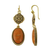 Art Smith by BARSE Genuine Sponge Coral Brass Drop Earrings