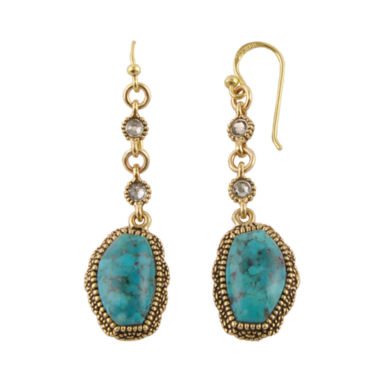 jcpenney.com | Art Smith by BARSE Genuine Turquoise Brass Linear Drop Earrings