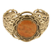 Art Smith by BARSE Dyed Orange Sponge Coral Brass Cuff Bracelet