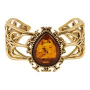 Art Smith by BARSE Genuine Amber Brass Cuff Bracelet