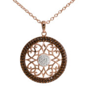 Crystal 14K Rose Gold Over Silver Filigree Pendant Necklace