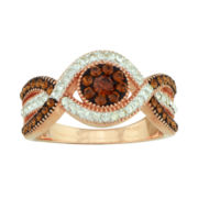 Crystal 14K Rose Gold Over Silver Swirl Ring