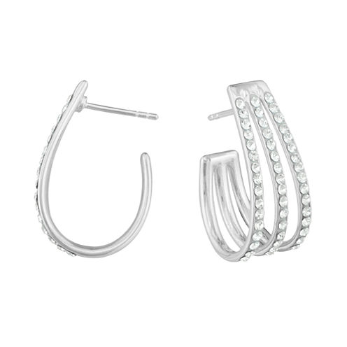 Crystal Sterling Silver 3-Row J-Hoop Earrings