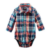 OshKosh B'gosh® Long-Sleeve Woven Plaid Bodysuit – Boys 3m-24m
