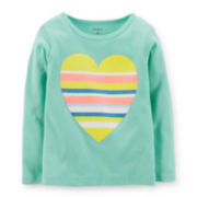 Carter's® Long-Sleeve Mint Heart Tee – Girls 6-24m