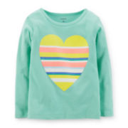 Carter's® Long-Sleeve Mint Heart Tee – Girls 4-6x