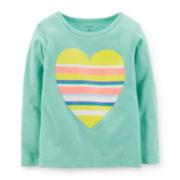 Carter's® Long-Sleeve Mint Heart Tee – Girls 4-6x