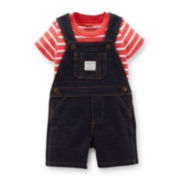 Carter's® 2-pc. Striped Tee and Shortalls Set – Boys newborn-24m
