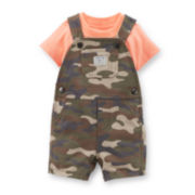 Carter's® 2-pc. Solid Tee and Camo Shortalls Set - Boys newborn-24m