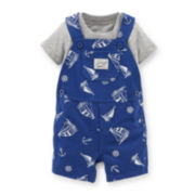 Carter's® 2-pc. Solid Tee and Sailboat Shortalls Set – Boys newborn-24m
