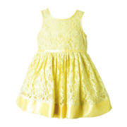 Pinky Sleeveless Lace Babydoll Dress - Girls 2t-4t