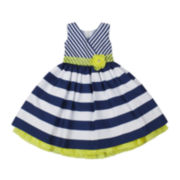 Nanette Baby Sleeveless Navy Shantung Dress - Girls 2-4t
