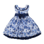 Nanette Baby Sleeveless Blue Floral Dress - Girls 2-4t