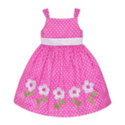 American Princess Sleeveless Polka Dot and Daisy Dress – Girls 2t-4t