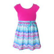 Pinky Cap-Sleeve Chevron Dress - Girls 2t-4t