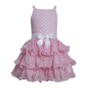 Bonnie Jean® Sleeveless Pink Dot Tiered Dress - Girls 2t-4t