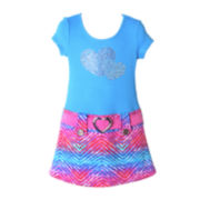 Pinky Short-Sleeve Drop-Waist Dress - Girls 4-6x