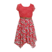 Bonnie Jean® Short-Sleeve Lace Chiffon Dress - Girls 4-6x