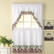 Apple Blossom 3-pc. Rod-Pocket Kitchen Curtain Set