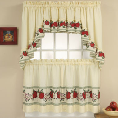 jcpenney.com | Red Delicious 3-pc. Rod-Pocket Kitchen Curtain Set