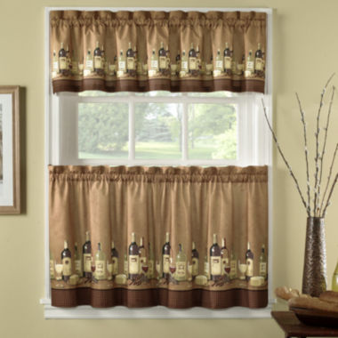 jcpenney.com | Wines 3-pc. Rod-Pocket Kitchen Curtain Set