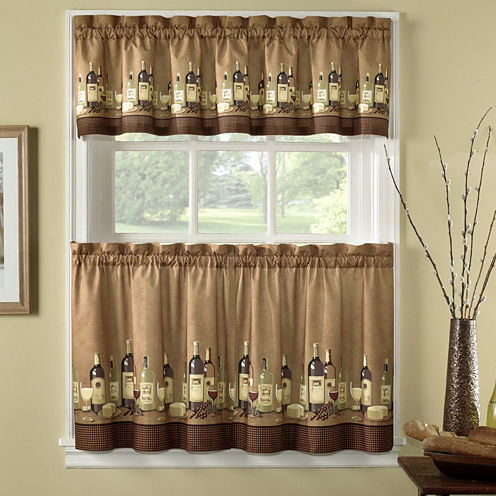 Wines 3-pc. Rod-Pocket Kitchen Curtain Set