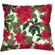 Tossed Poinsettia Decorative Pillow