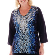 Alfred Dunner® Windy City 3/4-Sleeve Python Print Top - Plus