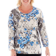 Alfred Dunner® Windy City 3/4-Sleeve Paisley Flower Print Top - Plus