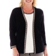 Alfred Dunner® Windy City Herringbone-Trim Layered Sweater - Plus