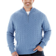 IZOD® Quarter–Zip Cable Sweater–Big & Tall
