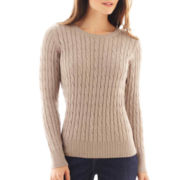 St. John's Bay® Long-Sleeve Crewneck Cable Sweater