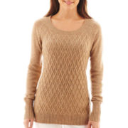 jcp™ Long-Sleeve Diamond Cable Sweater