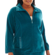 Alfred Dunner® Lake Ontario Solid Velour Jacket - Plus