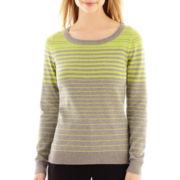 Liz Claiborne®  Long-Sleeve Striped Sweater